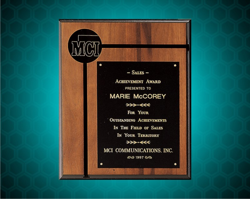 12 X 14 inch American Walnut Plaque with Solid Brass Plates