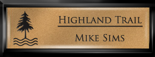 Framed Name Tag: Black Plastic (squared corners) - Smooth Gold and Black Plastic Insert with Epoxy