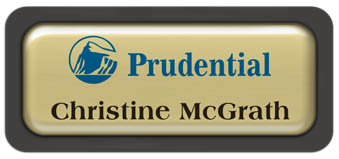 Metal Name Tag: Shiny Gold Metal Name Tag with a Charcoal Grey Plastic Border and Epoxy
