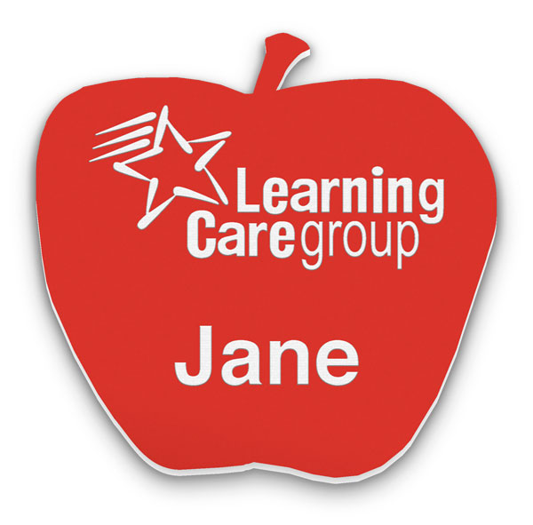 Smooth Plastic Apple Shape Name Tag - 2 x 2 inches