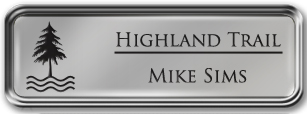 Framed Name Tag: Silver Metal (rounded corners) - Smooth Silver and Black Plastic Insert with Epoxy