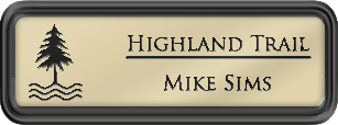 Framed Name Tag: Black Plastic (rounded corners) - Almond and Black Plastic Insert with Epoxy