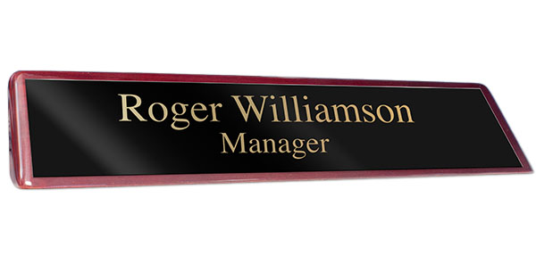 Rosewood Piano Finish Desk Plate with a Black Plate with Gold Engraving