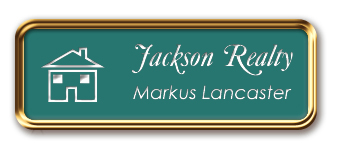 Rose Gold Metal Framed Nametag with Celadon Green And White