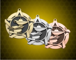2 1/4 inch Lamp of Knowledge Super Star Medals