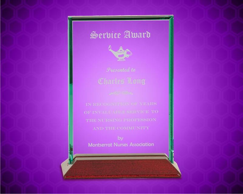 5 x 7 inch Beveled Rectangle Jade Glass Award with Piano Finish Base