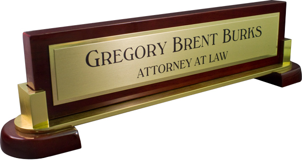 Rosewood Piano Specialty Curved Deskplate - Brushed Gold Metal Name Plate with Shiny Gold Metal Border
