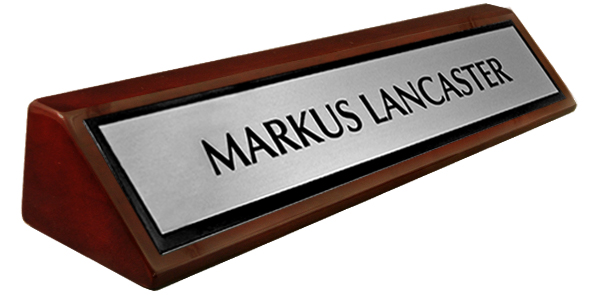 Metal Brushed Silver, Black Border Plate on a Rosewood Piano Finish Deskplate 8""