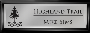 Framed Name Tag: Black Plastic (squared corners) - Smooth Silver and Black Plastic Insert with Epoxy