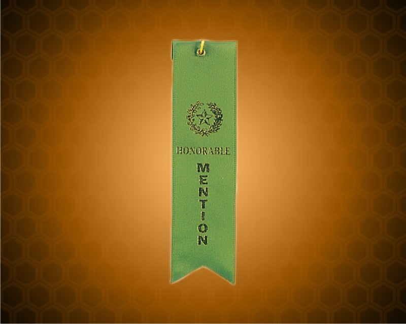 Green Honorable Mention Carded Ribbon
