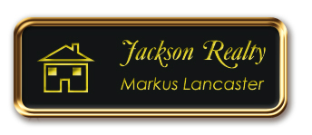 Rose Gold Metal Framed Nametag with Black and Yellow
