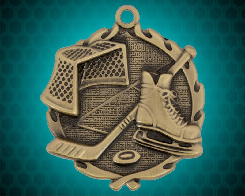 1 3/4 inch Gold Hockey Wreath Medal