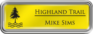 Framed Name Tag: Silver Plastic (rounded corners) - Canary Yellow and Black Plastic Insert with Epoxy