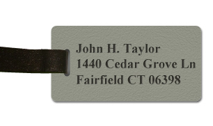 Textured Plastic Luggage Tag: Ash Grey with Black - 822-374