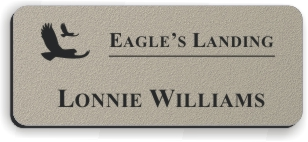 Textured Plastic Nametag: Ash Grey with Black - 822-374