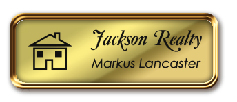 Rose Gold Metal Framed Nametag with Shiny Gold and Black