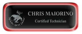 Metal Name Tag: Black and Silver with Epoxy and Shiny Red Metal Border