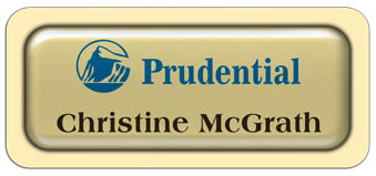 Metal Name Tag: Shiny Gold Metal Name Tag with a Ivory Plastic Border and Epoxy