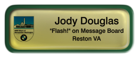 Metal Name Tag: Shiny Gold with Epoxy and Green Metal Border