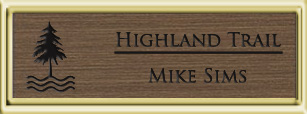 Framed Name Tag: Gold Plastic (squared corners) - Deep Bronze and Black Plastic Insert