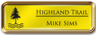 Framed Name Tag: Rose Gold Metal (rounded corners) - Canary Yellow and Black Plastic Insert with Epoxy