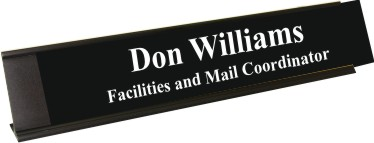 Black Plastic Plate with White Text, Black Deskplate