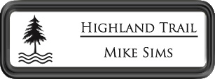 Framed Name Tag: Black Plastic (rounded corners) - White and Black Plastic Insert
