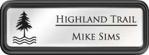 Framed Name Tag: Black Plastic (rounded corners) - White and Black Plastic Insert with Epoxy