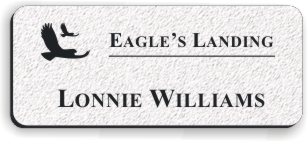 Textured Plastic Nametag: Winter White with Black - 822-244