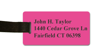 Smooth Plastic Name Tag: Pink with Black - LM922-664