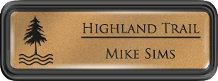 Framed Name Tag: Black Plastic (rounded corners) - Smooth Gold and Black Insert with Epoxy