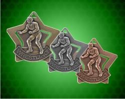 2 1/4 inch Wrestling Star Medals