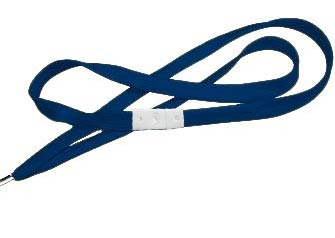 Navy Blue Flat Woven Break-Away Lanyard