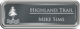 Framed Name Tag: Silver Plastic (rounded corners) - Smoke Grey and White Plastic Insert with Epoxy