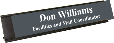 Smoke Grey Plastic Plate with White Text, Black Deskplate
