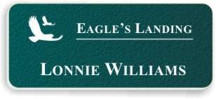 Textured Plastic Nametag: Teal with White - 822-992