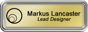 Framed Name Tag: Silver Plastic (rounded corners) - Shiny Gold and Black Plastic Insert