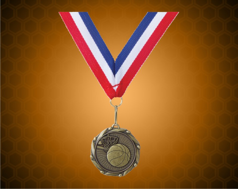 Gold Basketball Medal w/ Red, White, & Blue Ribbon