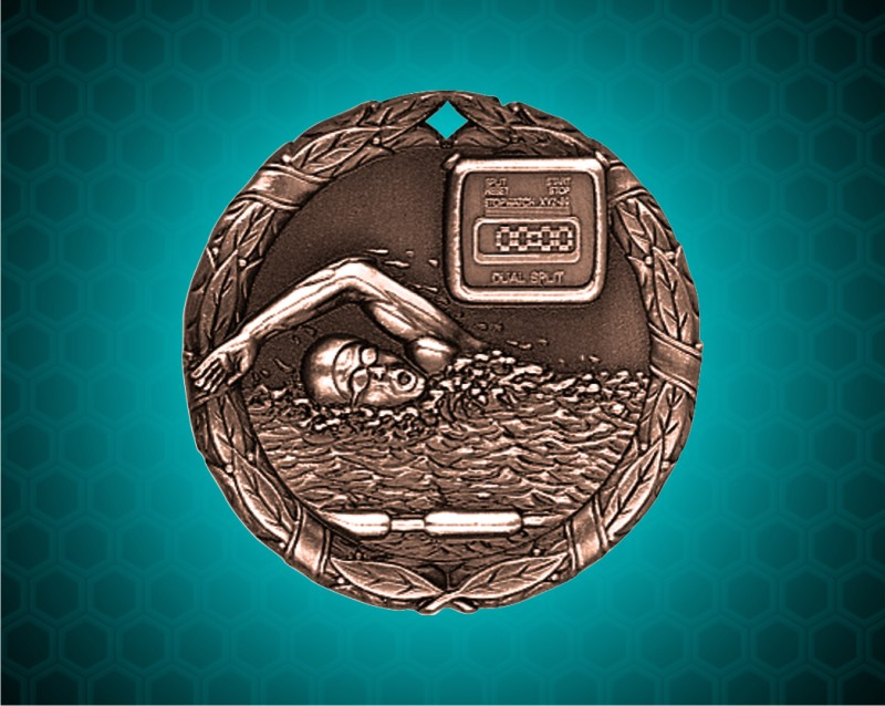 1 1/4 inch Bronze Swimming XR Medal