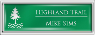 Framed Name Tag: Silver Plastic (squared corners) - Kelley Green and White Plastic Insert with Epoxy