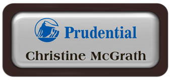 Metal Name Tag: Shiny Silver Metal Name Tag with a Dark Brown Plastic Border and Epoxy