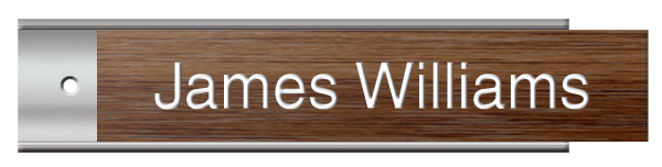 Walnut Plastic Plate on Silver Wall Plate Holder