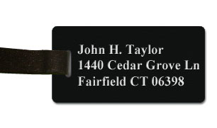 Textured Plastic Luggage Tag: Coal Black with White - 822-422