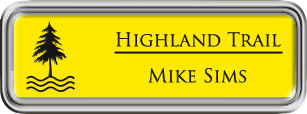 Framed Name Tag: Silver Plastic (rounded corners) - Canary Yellow and Black Plastic Insert