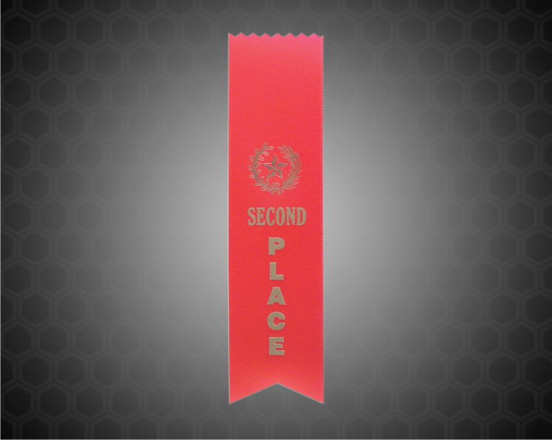 Red 2nd Place Pinked Top Ribbon