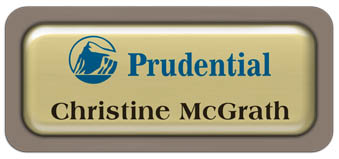 Metal Name Tag: Shiny Gold Metal Name Tag with a Taupe Plastic Border and Epoxy