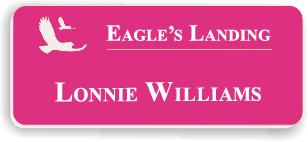 Smooth Plastic Name Tag: Ribbon Pink with White - LM922-662