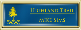 Framed Name Tag: Gold Plastic (squared corners) - Sky Blue and Yellow Plastic Insert with Epoxy