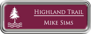 Framed Name Tag: Silver Plastic (rounded corners) - Claret and White Plastic Insert