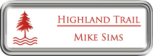 Framed Name Tag: Silver Plastic (rounded corners) - White and Crimson Plastic Insert